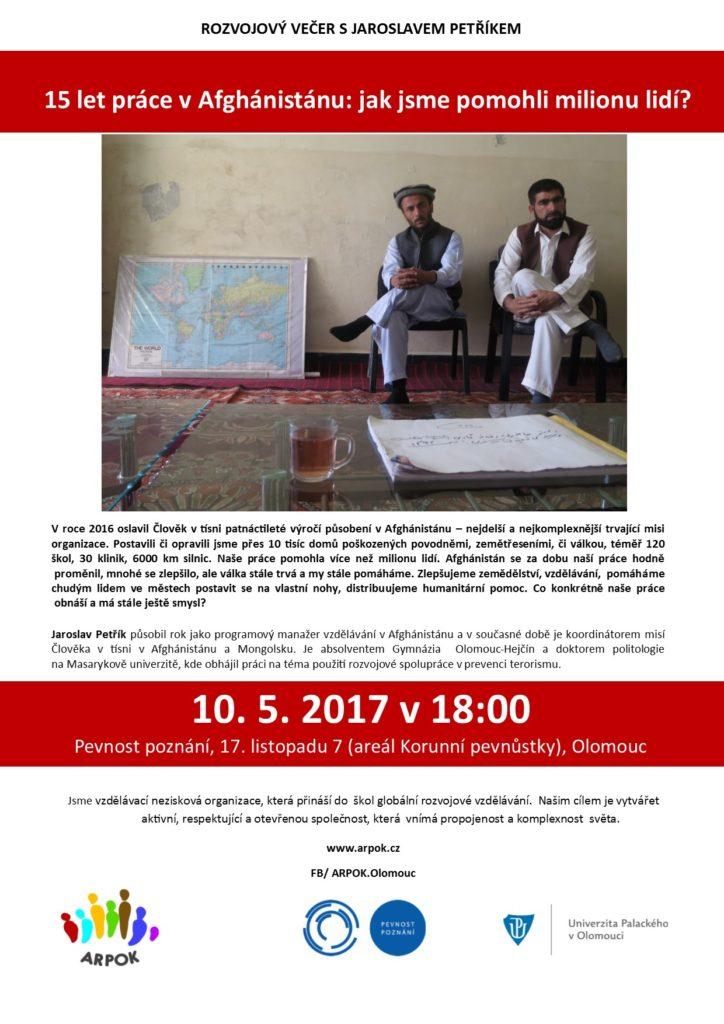 Plakát rozvojový večer: 15 let práce v Afghánistánu