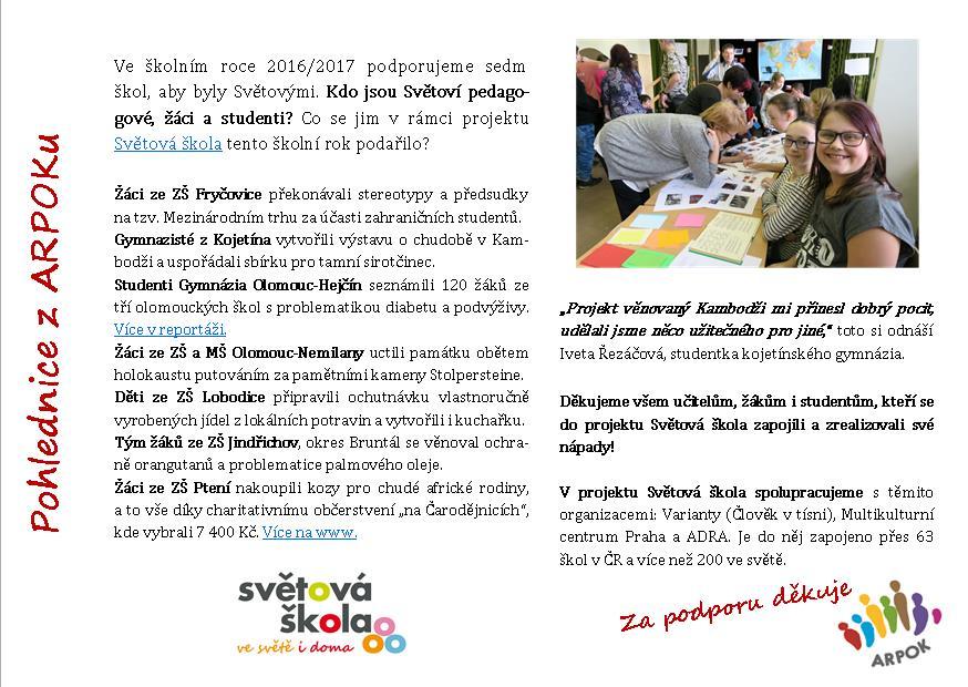 Pohlednice z ARPOKu: Akce Světové školy