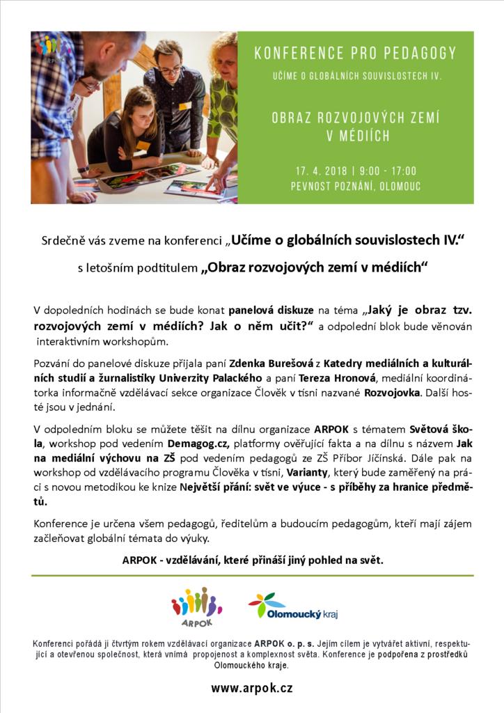 Pozvánka na konferenci pro pedagogy